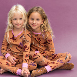 Tan Dancing Leopard Pyjama Set