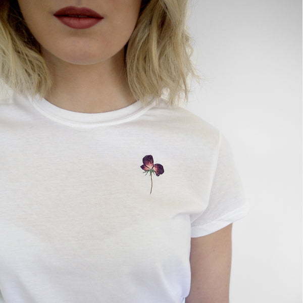 PERSONALISED EMBROIDERED FLORAL T-SHIRT