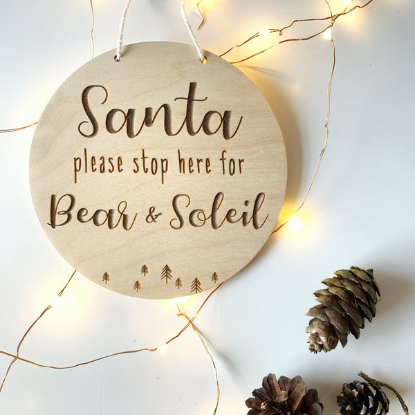 PERSONALISED 'SANTA STOP HERE' SIGN