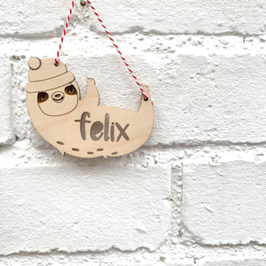 PERSONALISED SLOTH DECORATION