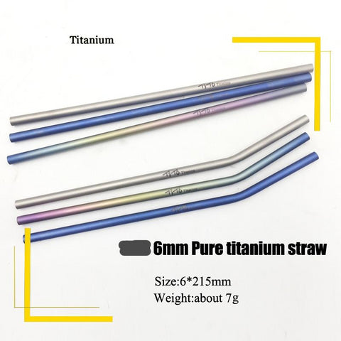 Titanium Straws with 1 Cleaner Brush - Strong Store