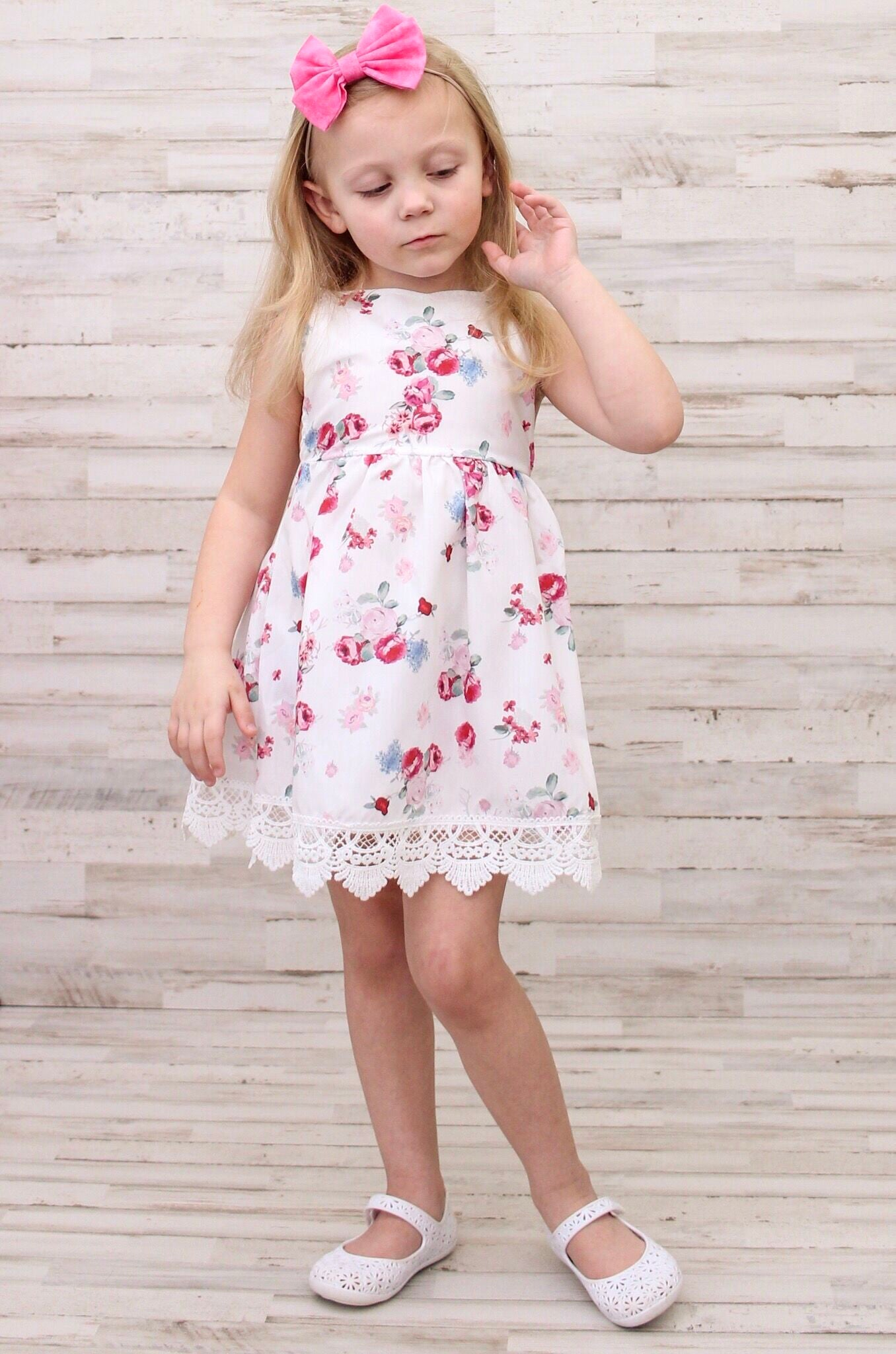 Beautiful Baby Girls Boutique Floral Lace Spring Dress Perfect For Summer Fun And Parties So Soft And Comfy