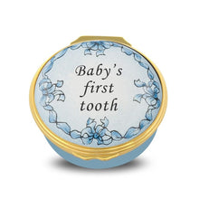 "Load image into Gallery viewer, Halcyon Days ""Baby's First Tooth Blue"" Enamel Box"