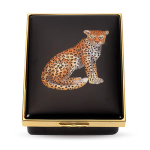 "Halcyon Days ""Leopard"" Enamel Box"