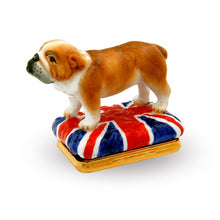 "Load image into Gallery viewer, Halcyon Days ""British Bulldog Bonbonniere"" Enamel Box"