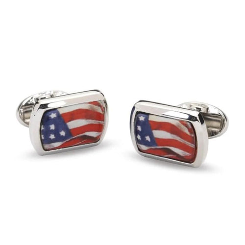 Halcyon Days American Flag Rectangular Cufflinks