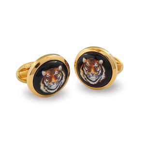 Halcyon Days Tiger Head Round Gold Cufflinks