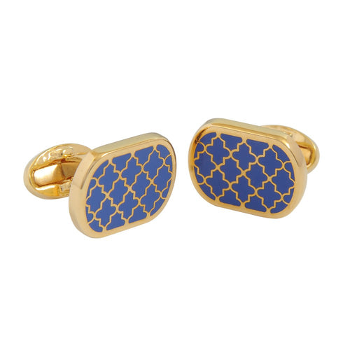 Halcyon Days Agama Deep Cobalt & Gold Cufflinks