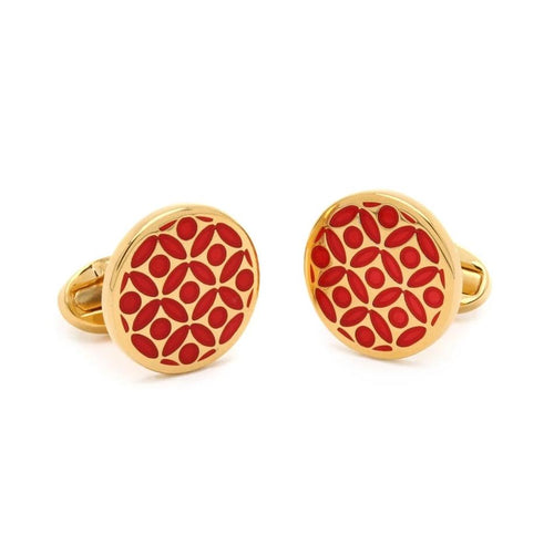 Halcyon Days Rose Red & Gold Cufflinks