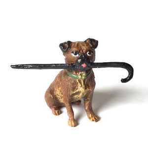 Pug With Cane In Mouth Vienna Bronze Figurine