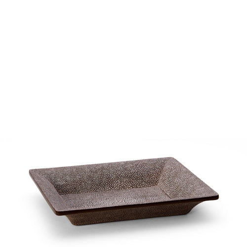 AERIN Shagreen Rectangular Vide Poche - Chocolate