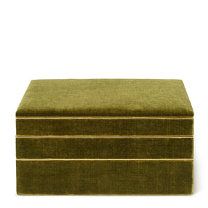 AERIN Valentina Velvet Stacked Jewelry Box - Moss