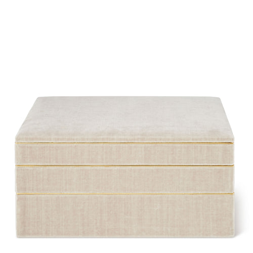 AERIN Valentina Velvet Stacked Jewelry Box - London Fog