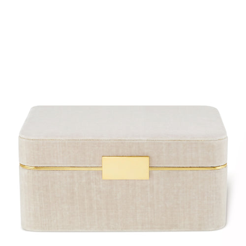 AERIN Beauvais Velvet Jewelry Box - London Fog