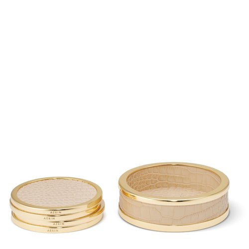 AERIN Colette Croc Leather Coaster, Set of 4