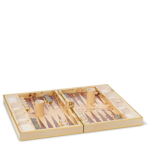 AERIN Croc Leather Backgammon Set