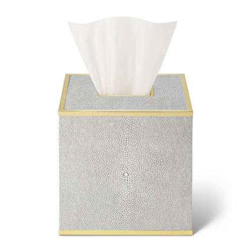 AERIN Classic Shagreen Tissue Box Cover - Dove