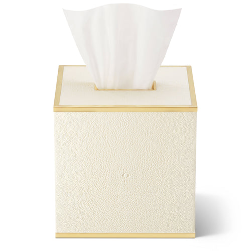 AERIN Classic Shagreen Tissue Box Cover - Cream