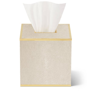 AERIN Classic Shagreen Tissue Box Cover - Wheat