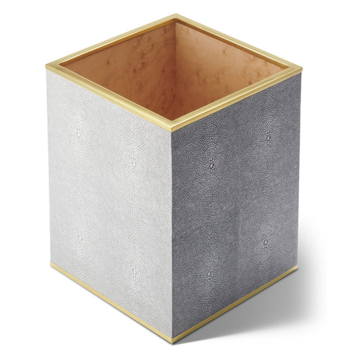 AERIN Classic Shagreen Waste Basket - Dove