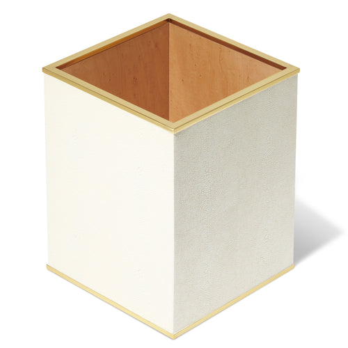 AERIN Classic Shagreen Waste Basket - Cream