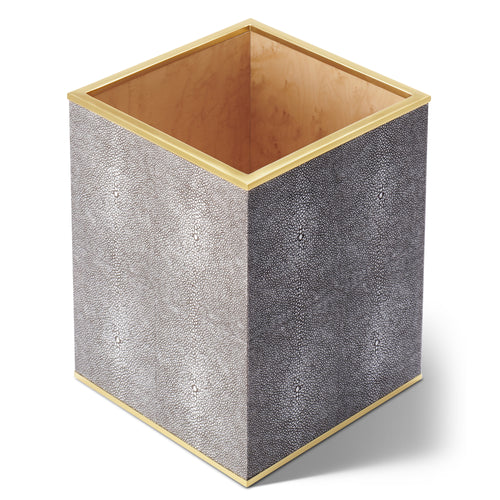 AERIN Classic Shagreen Waste Basket - Chocolate