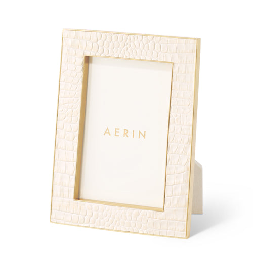 AERIN Classic Croc Leather 4x6 Frame - Bisque