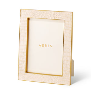 AERIN Classic Croc Leather 5x7 Frame - Bisque