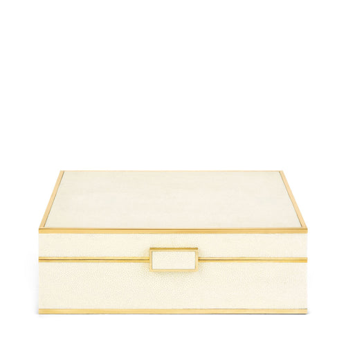 AERIN Classic Shagreen Large Jewelry Box - Cream