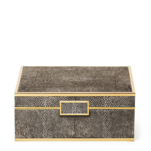 AERIN Classic Shagreen Small Jewelry Box - Chocolate