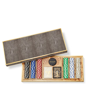 AERIN Shagreen Poker Set - Chocolate