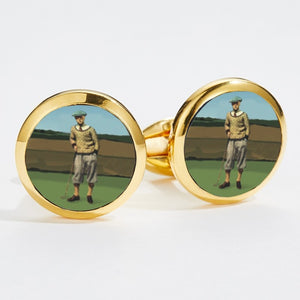 Halcyon Days 1920's Golfer Round Gold Cufflinks
