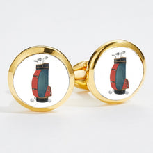 Load image into Gallery viewer, Halcyon Days 1920's Golfers Bag Round Gold Cufflinks