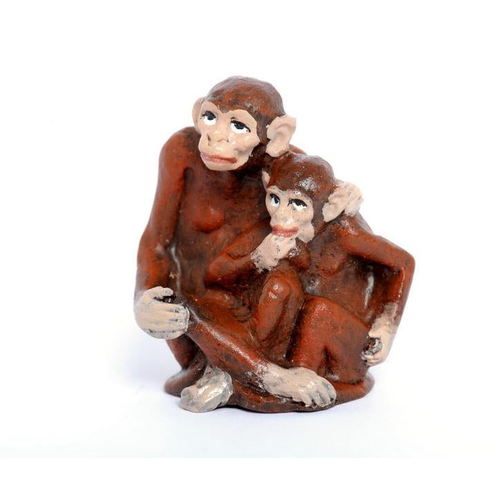 Monkey Mother / Baby Vienna Bronze Figurine