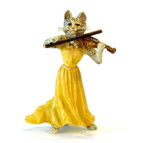 Cat Lady Violin Vienna Bronze Figurine