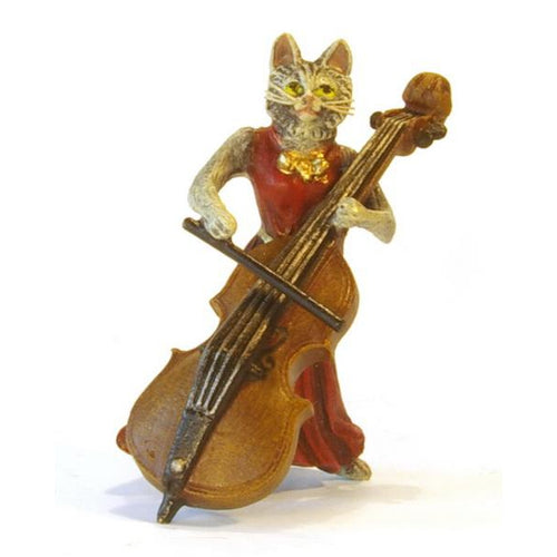 Cat Lady Contrabass Vienna Bronze Figurine