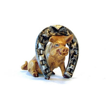 Load image into Gallery viewer, Pig With Horseshoe Vienna Bronze Figurine