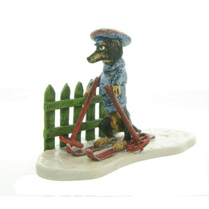 Dachshhund Skier On Slope / Fence Vienna Bronze Figurine