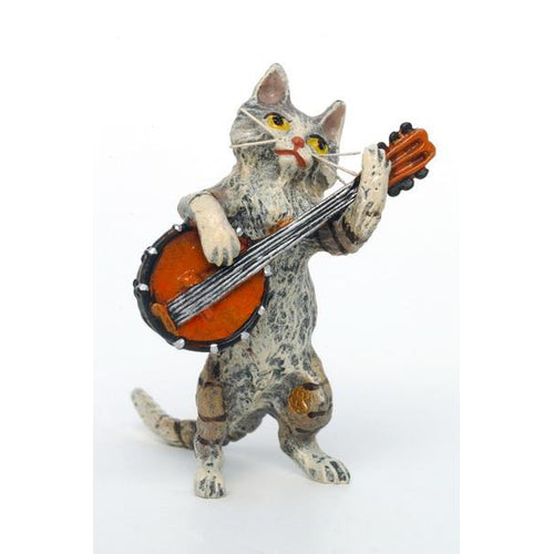 Cat Banjo Vienna Bronze Figurine