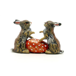 Rabbits With Easter Egg Vienna Bronze Figurine