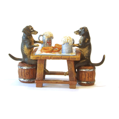 Dachshunds On Oktoberfest Vienna Bronze Figurine