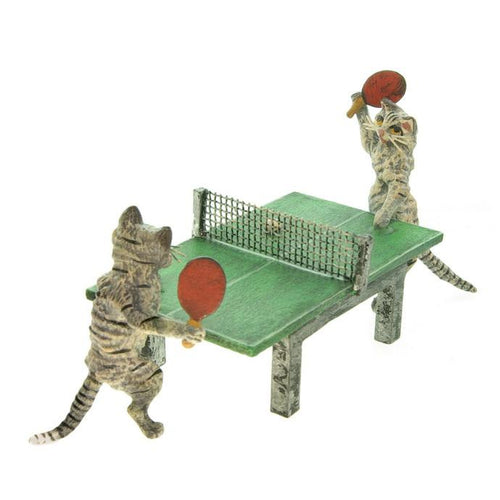 Cats Playing Table Tennis Vienna Bronze Figurine