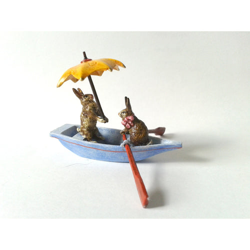 Rabbits In Boat  /  Umbrella Vienna Bronze Figurine