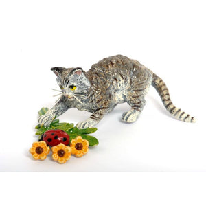 Cat Ladybird And Flowers Vienna Bronze Figurine