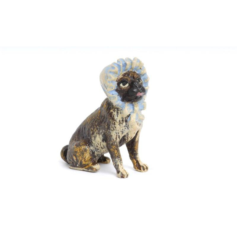 Pug With Hat Vienna Bronze Figurine
