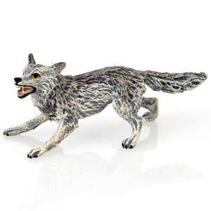Wolf Attacking Vienna Bronze Figurine