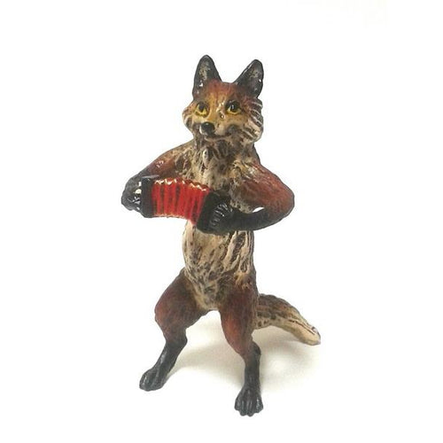 Fox Accordion Vienna Bronze Figurine