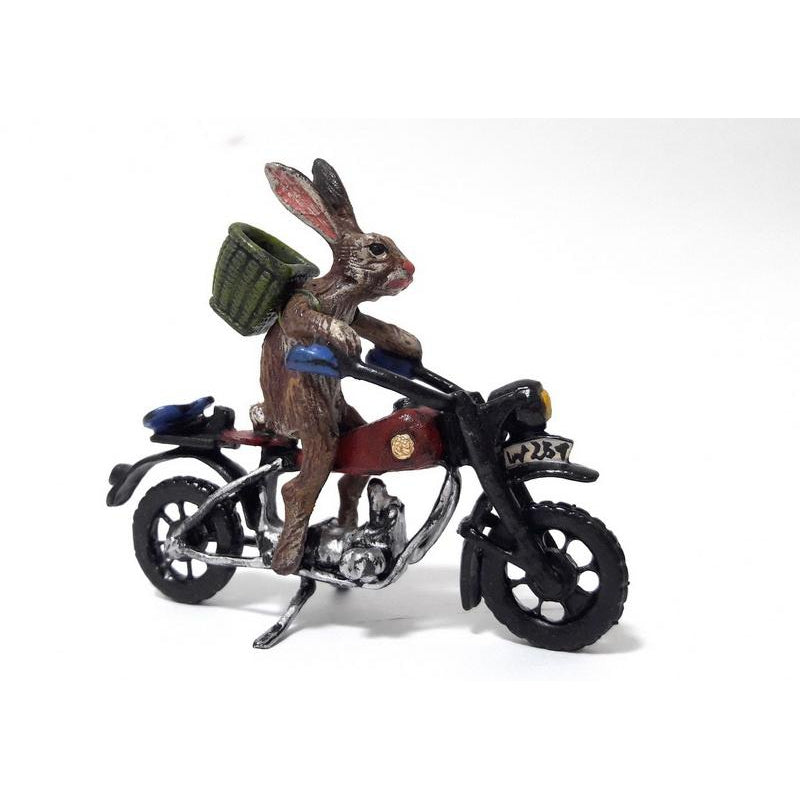 Rabbit On Motorcycle Vienna Bronze Figurine