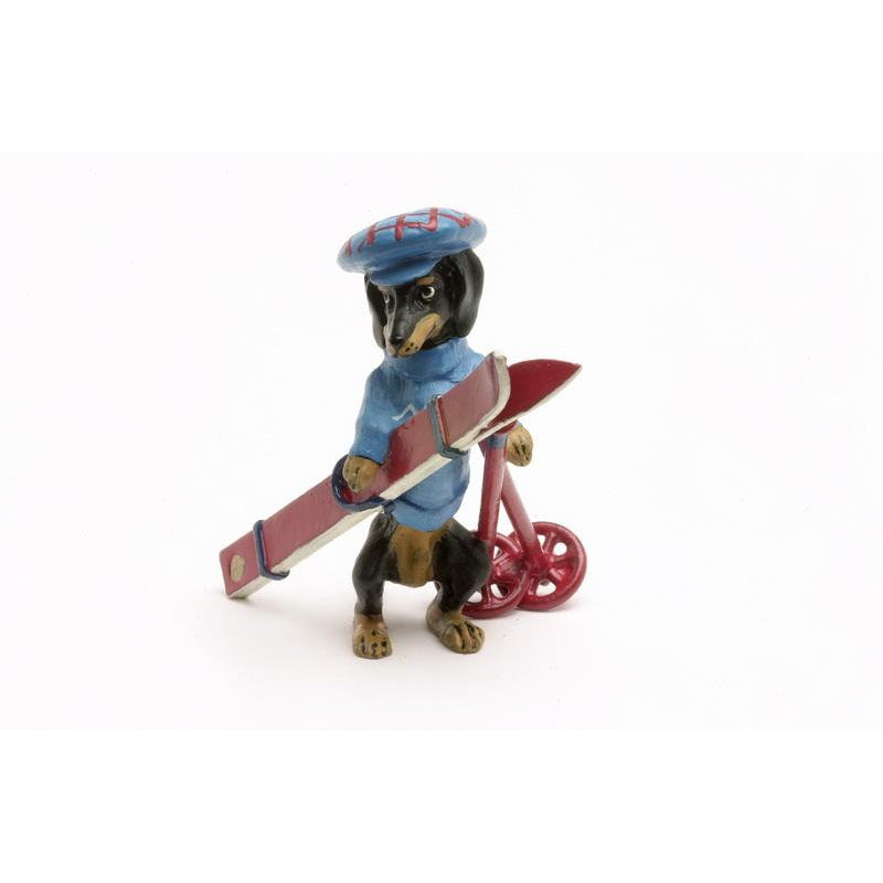 Dachshund With Ski Vienna Bronze Figurine