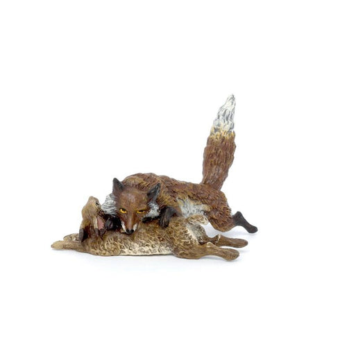 Fox With Rabbit Vienna Bronze Figurine